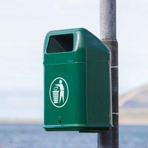 Metal rubbish bin in a park - Iceland